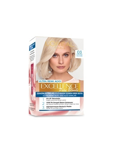 L'Oréal Paris Excellence Pure Blonde 03 + Saç Boyama Seti Renksiz